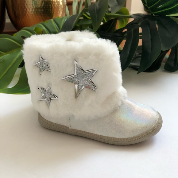 CAT /& JACK KERSTEN GIRLS SHOES TODDLER WHITE W STARS FAUX FUR FASHION BOOTS
